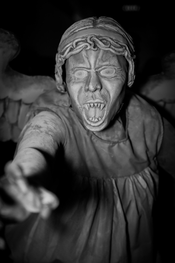Captured at Adelaide OzComicCon 2013 A really impressive Weeping Angel cosplay from Dr. Who. It was genuinely quite creepy.